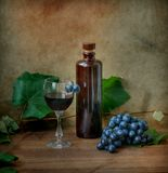 Still life with vine and wine. Grunge still life with vine and wine Royalty Free Stock Image