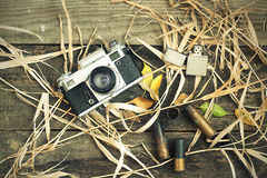 Still life. Vintage hike in the woods Stock Images