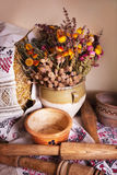 Still life of vintage household items Stock Photo