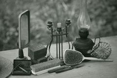 Still life of vintage items. Objects of antiquity stock photo
