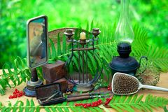Still life of vintage objects. Collection of retro objects of everyday use, household royalty free stock photo