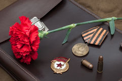 Still life with vintage objects dedicated to Victory Day Stock Images