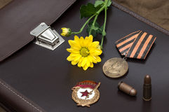 Still life with vintage objects dedicated to Victory Day. Royalty Free Stock Photography