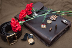 Still life with vintage objects dedicated to Victory Day Stock Photography