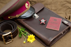 Still life with vintage objects dedicated to Victory Day Royalty Free Stock Images