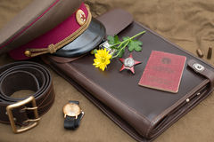 Still life with vintage objects dedicated to Victory Day. Order of the Red Star. Royalty Free Stock Images
