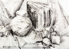 Still-life vintage objects handdraw sketch Stock Photo