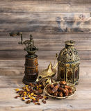 Still life with vintage oriental latern and mill. Stock Photos