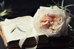 Still life of vintage rose flower and old books on black surface. Beautiful retro card. Royalty Free Stock Image
