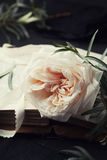 Still life of vintage rose flower and old books on black table. Beautiful retro card. Stock Photo