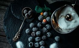 Still life in style. Frozen berry of blackberry with silver sugar bowl and spoon on black stone stand. Still life in vintage style. Frozen berry of blackberry stock photography