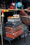Still life of vintage suitcases, chess, books at the festival `Bright people` in the City Day in Moscow. Stock Image