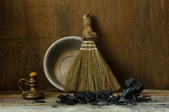 Still life with vintage tools for cleaning Royalty Free Stock Photography