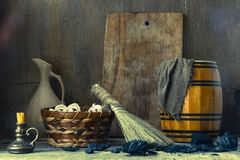 Still life with vintage tools for cleaning Royalty Free Stock Image