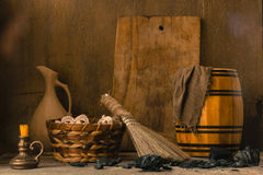 Still life with vintage tools for cleaning Royalty Free Stock Photo