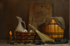 Still life with vintage tools for cleaning Stock Photos