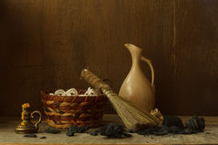 Still life with vintage tools for cleaning Stock Images