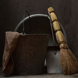 Still life with vintage tools for cleaning Royalty Free Stock Images