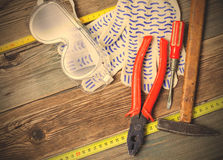 Still life with vintage working tools Royalty Free Stock Photography