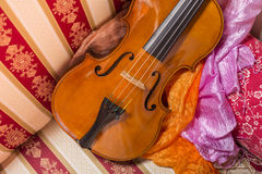 Still life with violin. Cremonese violin in a still life composition Stock Photos