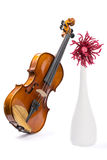Still-life with a violin, a flower and a vase of white wool Stock Photo
