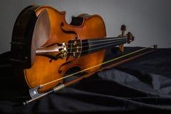 Still life violin satin Stock Image