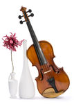 Still-life with a violin, white vases and flower made of wool Stock Image