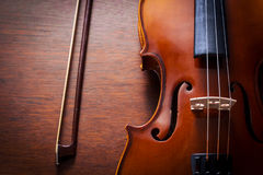 Still life violin on wood table. Stock Photography