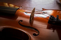Still life violin on wood table. Stock Images