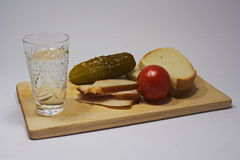 Still life with vodka and snack Stock Photo