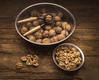 Still life with walnuts Stock Photos