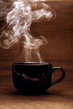 still life of warm black cup of coffee stock photo