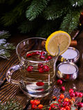 Still life of warming drink with white wine . Royalty Free Stock Photo