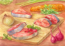 Still-life with watercolor. Cut red fish on a cutting board.. Drawing from the hands of vegetables and pink salmon. Illustration for poster or background Royalty Free Stock Photography