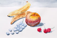 Still life with watercolor paint Stock Photography