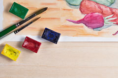 Still life with watercolor paint Royalty Free Stock Photography