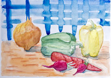 Still life with watercolor paint Royalty Free Stock Image