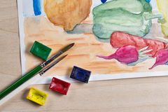 Still life with watercolor paint Royalty Free Stock Images