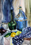 Still life watercolor painting the kettle. Still life gouache color painting the kettle dinnerware blue, bottle, glass Royalty Free Stock Photos