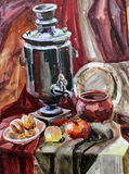 Still life watercolor painting the kettle Royalty Free Stock Photos