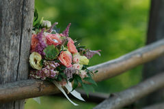 Still life with wedding bouquet. And wedding rings Stock Image