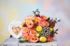 Still life with wedding flower bouquet Royalty Free Stock Photos