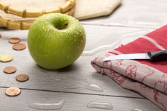 Still life with wet green apple Royalty Free Stock Images