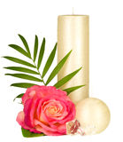 Still-life with white candle and rose Royalty Free Stock Images
