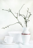 Still life with white dishes and dry branches made in high key Royalty Free Stock Photos