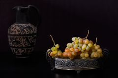 Still Life With White Grapes royalty free stock photo