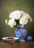 Still life with white peonies Stock Photo