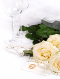 Still life with white roses Stock Photography