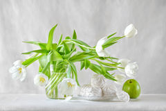 Still life with white tulips Royalty Free Stock Images