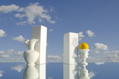 Still-life with white vases on mirror Royalty Free Stock Photos